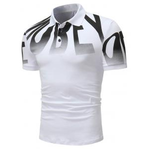 Top Letter Print Short Sleeve Polo Shirt -