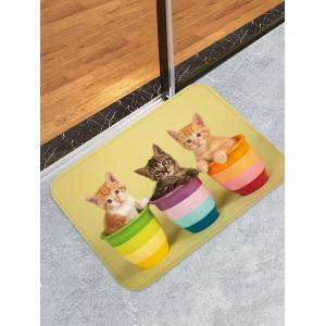 Uhommi Kitten in the Flower Pot Print Bath Decor Floor Rug -