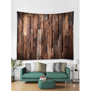 Uneven Wooden Planks Print Wall Tapestry -