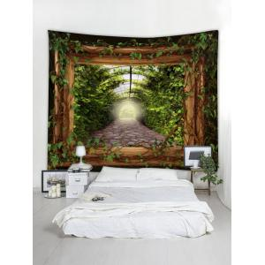 Green Leaves Wooden Frame Print Wall Hanging Tapestry -