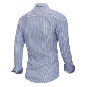 Stripe Print Button Up Slim Fit Shirt -