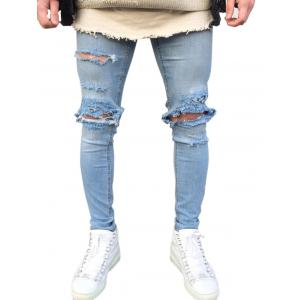 Zip Fly Faded Wash Destroyed Jeans -