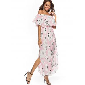 Floral Print Off The Shoulder Maxi Dress -