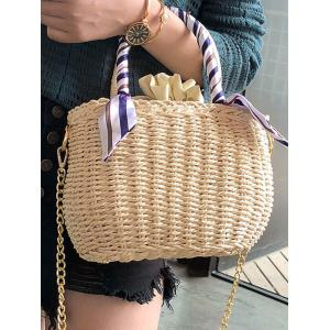 Straw Scarf Embellished Metal Chain Tote Bag -