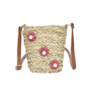 Floral Decorated Straw Leisure Crossbody Bag -
