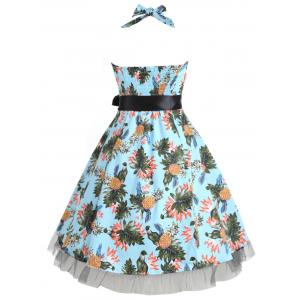 Vintage Pineapple Print Pin Up Dress -