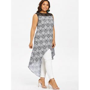 Lace Panel Plus Size Printed High Low Blouse -
