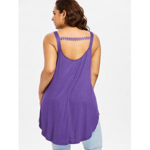 Plus Size Lace Embellished Henley Tank Top -