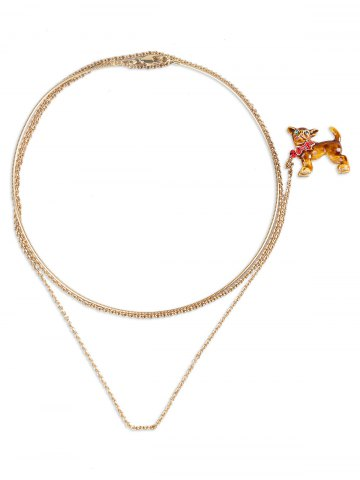 New Dog Shaped Brooch with Simple Collar Necklace