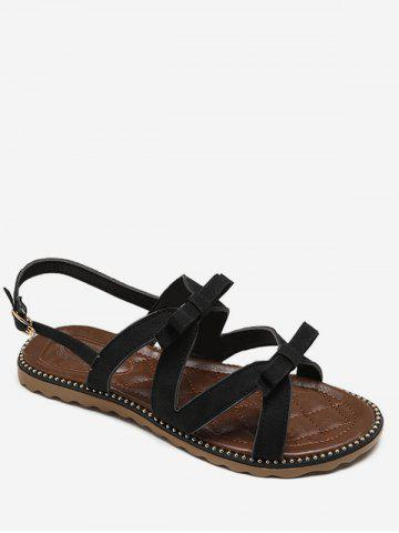 Affordable Flat Heel Buckle Strap Bowknot Casual Sandals