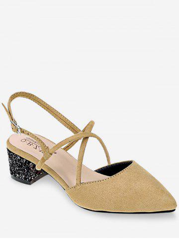 Hot Pointed Toe Low Heel Sequined Slingback Sandals