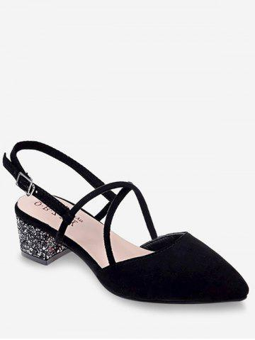 Trendy Pointed Toe Low Heel Sequined Slingback Sandals