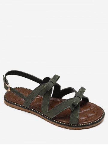 Buy Flat Heel Buckle Strap Bowknot Casual Sandals