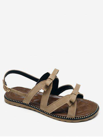 Shops Flat Heel Buckle Strap Bowknot Casual Sandals