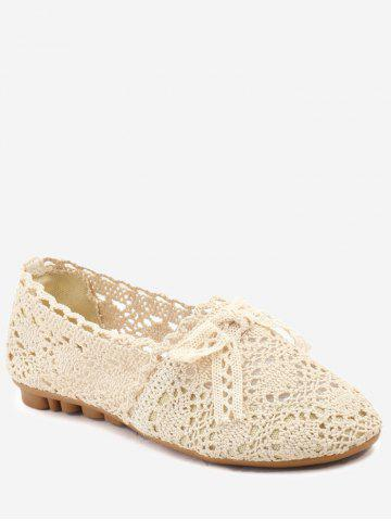 Sale Hollow Out Bow Decorated Flat Heel Ballet Flats