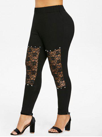 Cheap Plus Size Floral Lace Insert Leggings