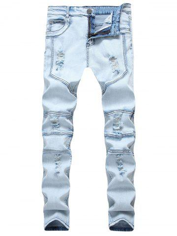 Shops Splicing Ripped Skinny Stretch Denim  Biker Jeans