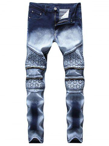New Stars Zippered Denim Biker Jeans