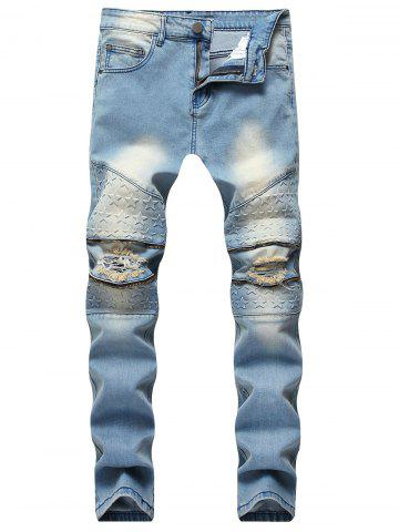 Hot Five Pointed Stars Raised Zippers Ripped Jeans