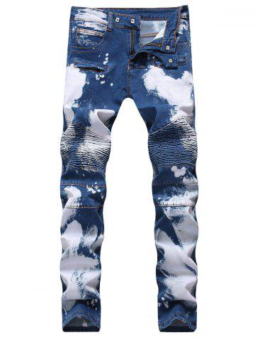 Discount Hook Button Paint Splatter Print Straight Leg Jeans