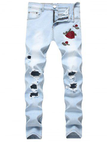Shops Flowers Embroidery Ripped Hole Jeans