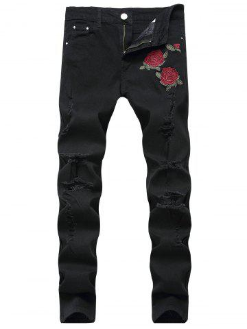 Unique Rose Embroidery Ripped Stretch Jeans