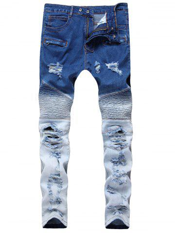 Best Gradient Color Pleated Zippers Ripped Skinny Bike Jeans