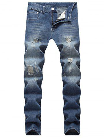 Store Ripped Scratch Straight Casual Jeans