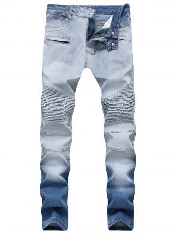 Store Hook Button Straight Leg Distressed Biker Jeans