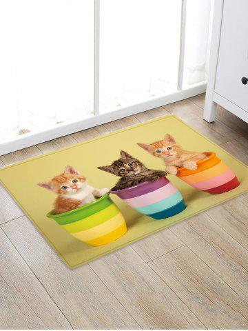 Unique Uhommi Kitten in the Flower Pot Print Bath Decor Floor Rug
