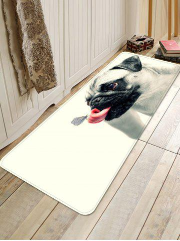 Chic Butterfly on the Tongue of Dog Print Bath Floor Rug