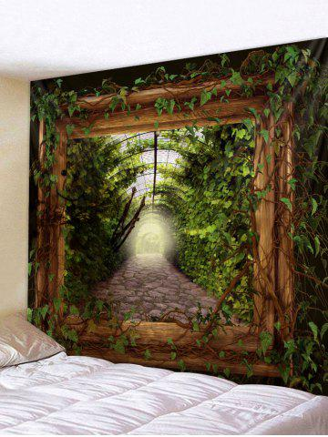 Sale Green Leaves Wooden Frame Print Wall Hanging Tapestry