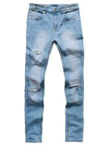 Fancy Zip Fly Faded Wash Destroyed Jeans