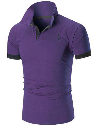 Discount Slim Fit Embroidery Giraffe Polo T-shirt