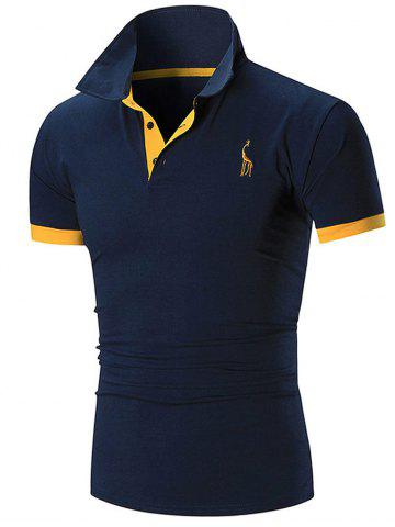 Best Slim Fit Embroidery Giraffe Polo T-shirt