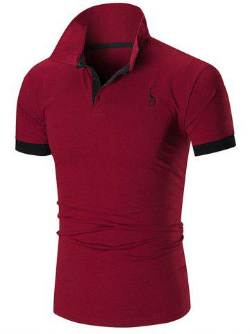 Shop Slim Fit Embroidery Giraffe Polo T-shirt