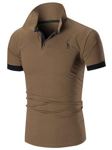 Hot Slim Fit Embroidery Giraffe Polo T-shirt