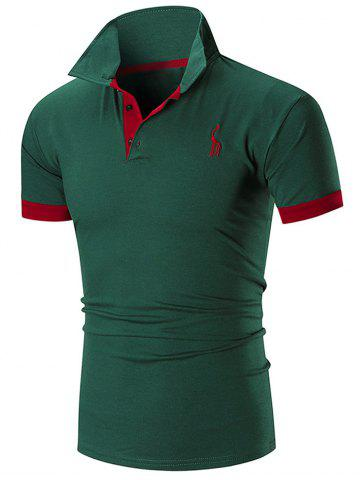 Trendy Slim Fit Embroidery Giraffe Polo T-shirt