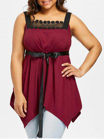 Plus Size Empire Waist Handkerchief Tank Top - Red Wine - 5x
