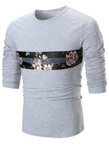 Outfits Round Neck Flower Panel T-shirt