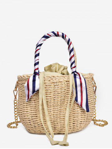 Shop Straw Scarf Embellished Metal Chain Tote Bag