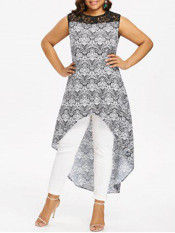Trendy Lace Panel Plus Size Printed High Low Blouse