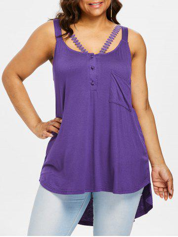 Affordable Plus Size Lace Embellished Henley Tank Top
