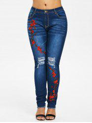 Plus Size Raw Hem Embroidery Jeans -