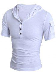 Hooded Button Embellished Short Sleeve T-Shirt For Men -