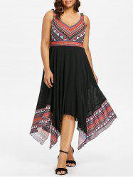Plus Size Tribal Print Handkerchief Dress -