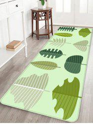 Tree Leaf Print Coral Fleece Floor Mat -