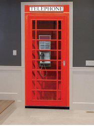 Telephone Booth Print Door Cover Stickers -