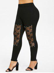 Plus Size Floral Lace Insert Leggings -