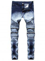 Stars Zippered Denim Biker Jeans -